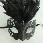 Black ornate Feather Half Mask (b)